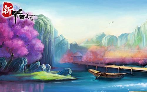 手绘桃花林图片 古风